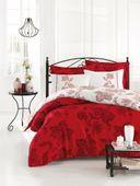 Pościel satynowa Exclusive Bianco biało-czerwona 200x220