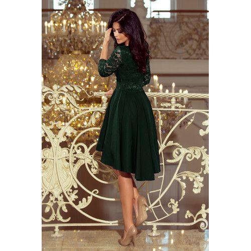 f0f70c1ab1 Sukienka z dłuższym tyłem z koronkowym dekoltem NICOLLE CIEMNA ZIELEŃ  zdjęcie 2