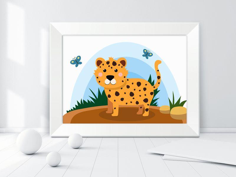Obraz obrazek ścienny dla dziecka dzieci zwierzęta w ramce KROKODYL zdjęcie 2