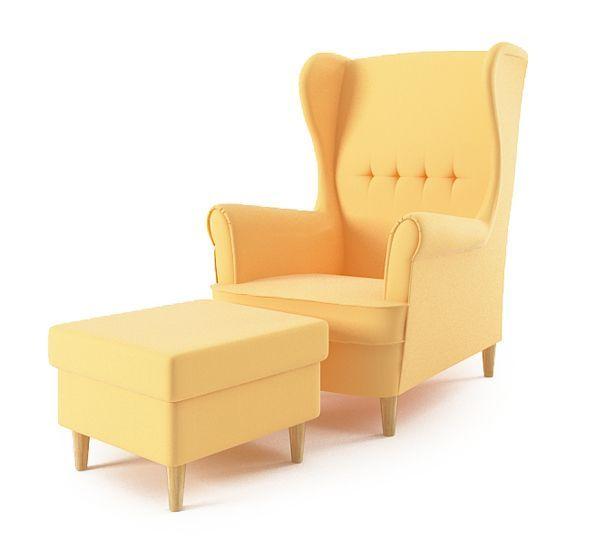 Fotel Uszak + podnóżek ŻÓŁTY zdjęcie 1