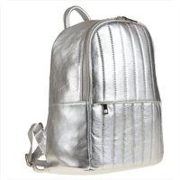 Srebrny plecak damski ze skóry naturalnej pikowany XL
