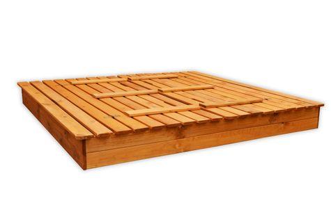 Piaskownica drewniana ze składanymi ławeczkami 180x180 - zmontowana