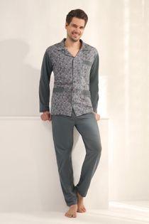 Piżama męska LUNA kod 797 rozpinana grafitowy roz. XXXL
