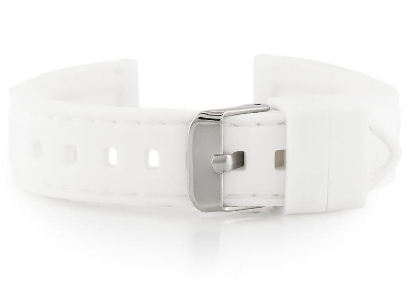 1fd25e5f17c57a Pasek gumowy do zegarka - przeszywany biały 20mm • Arena.pl