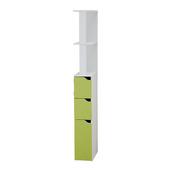 Regał łazienkowy Carinda biało - zielony Szuflada Szafki Półki