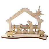 drewniana STAJENKA Szopka Bożonarodzeniowa 15 cm