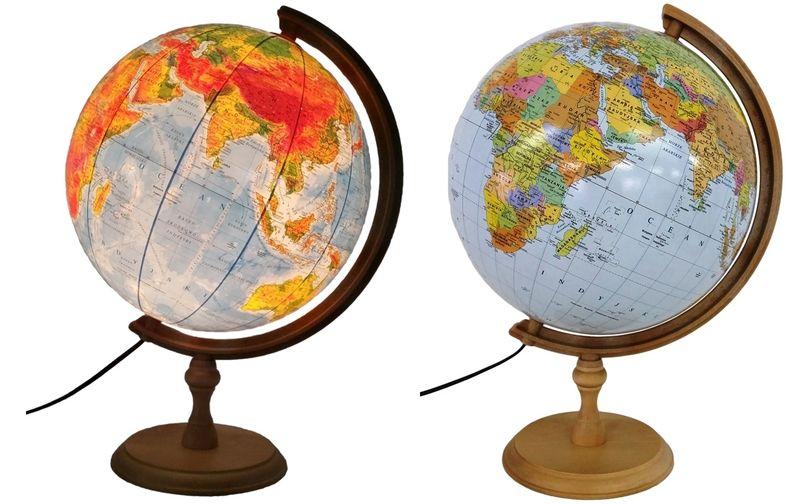 Globus 320mm PODŚWIETLANY 2w1 stopka DREWNO + NA PREZENT zdjęcie 1