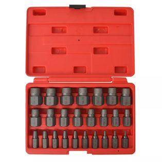 25-częściowy zestaw do wyciągania śrub wielowypustowych, stalowy