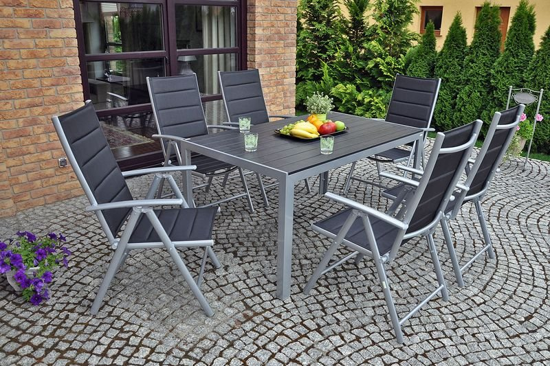 Meble ogrodowe aluminiowe Ibiza Silver / Black 6+1 zdjęcie 3