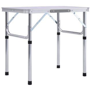 Składany Stolik Turystyczny, Biały, Aluminiowy, 60 X 45 Cm