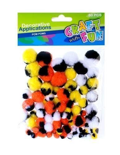 Ozdoba Dekoracyjna Kolorowe Pompony 80el