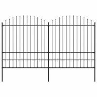 Panele ogrodzeniowe z grotami, stal, (1,75-2) x 3,4 m, czarne