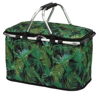 Kosz piknikowy torba termiczna lodówka turystyczna FRESCO 27 l czarno-zielona liście palmy aluminiowy stelaż