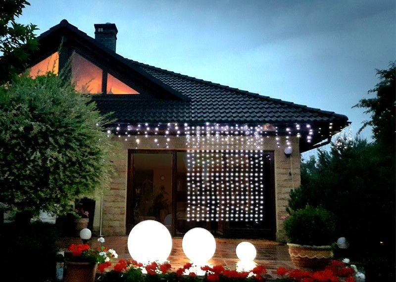 Kurtyna świetlna 22m X 25m 450 Led Zewnętrzne Oświetlenie Wymienne Wiązki Oświetlenie świąteczne Led Nr 0201 Kolor światła Zimny Biały