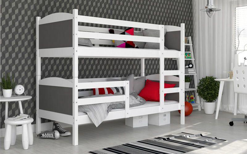Łóżko piętrowe MATEUSZ COLOR bez szuflady 190x80 + materace zdjęcie 1