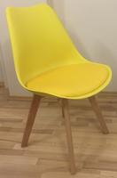 Skandynawskie krzesło KRIS FIORD z poduszką żółte BUKOWE NOGI