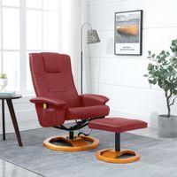 Fotel Masujący Z Podnóżkiem, Czerwone Wino, Sztuczna Skóra