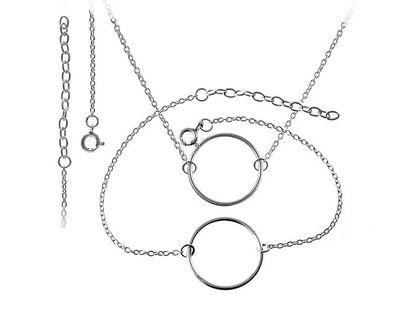 Delikatny rodowany srebrny komplet celebrytka kółko kółeczko ring circle karma srebro 925 Z0573