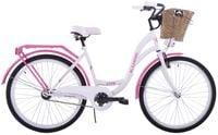 Rower miejski 28 damski Kozbike K19 1S biało-różowy