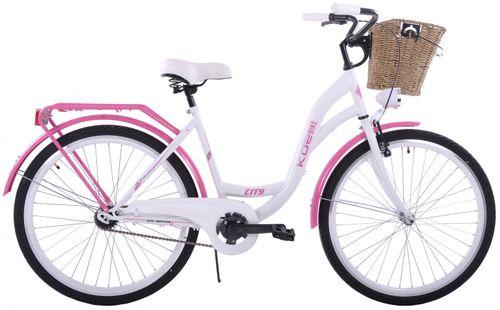 Rower miejski 28 damski Kozbike K19 1S biało-różowy na Arena.pl