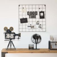 Lumarko Zegar stołowy, czarny, 33x16x45 cm, żelazo i MDF