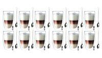 Szklanki z Podwójną Ścianką do Kawy Latte 380ml z Łyżeczkami 12 sztuk
