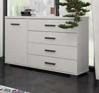 Duża komoda biała 120 cm cztery szuflady nowoczesna komoda do salonu