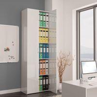 Szafa biurowa, wysoki połysk biała, 60x32x190 cm, płyta wiórowa