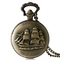 Piękny zegarek kieszonkowy żaglowiec statek 24h pl