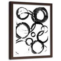Plakat dekoracyjny w ramie brązowej, Czarne koła 40x60