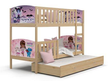 Łóżko piętrowe TAMI 3 190x80  szuflada + materace WZORY