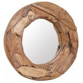Lustro dekoracyjne, drewno tekowe, 60 cm, okrągłe