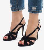 Czarne zamszowe sandały szpilki 9095-138 37 zdjęcie 2