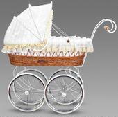 Śliczny wiklinowy wózek dla lalek LOLA EXCLUSIVE RETRO