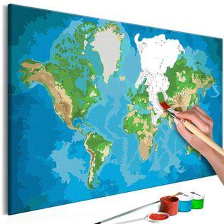 Obraz do samodzielnego malowania - Mapa świata (niebiesko-zielona)