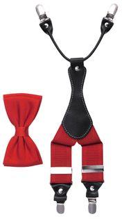 Czerwony zestaw - szelki do spodni i muszka męska Z24