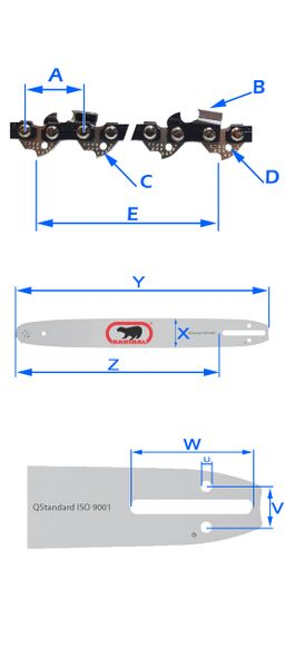 2x Mocny Łańcuch + Prowadnica do Piły NAC CE18 N Y zdjęcie 2