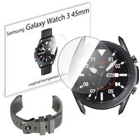 Pasek sportowy opaska i szkło hartowane do Samsung Galaxy Watch 3 45mm szary