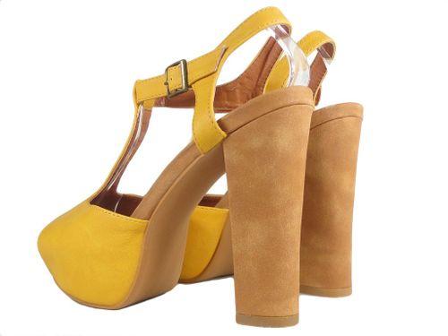 Żółte zamszowe sandały na platformie buty na obcasie 38 na Arena.pl