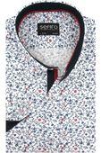 Koszula Męska Sefiro biała w granatowe kwiatki SLIM FIT na krótki rękaw K920 M 39 176/182
