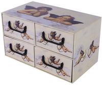 Pudełko Kartonowe 4 Szuflady Poziome Aniołki Kremowe
