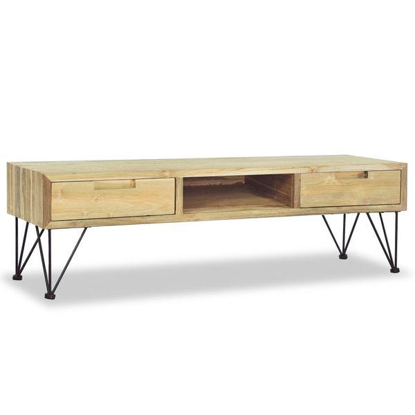 Szafka pod telewizor, 120 x 35 x 35 cm, lite drewno tekowe zdjęcie 2