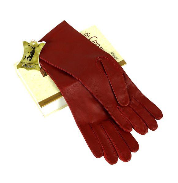 Czerwone rękawiczki ze skóry - długie. zdjęcie 4
