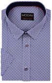 Biała koszula - granatowe koniczynki A10 KRÓTKI RĘKAW Rozmiar koszuli i fason - Wybierz rozmiar zdjęcie 1