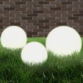 Lampy Zewnętrzne Led, 3 Szt., Kule 20/30/40 Cm, Pmma