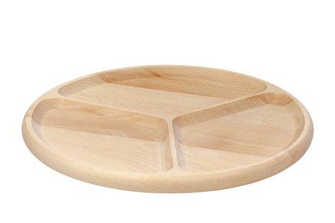 Półmisek z drewna, dzielony na 3 części