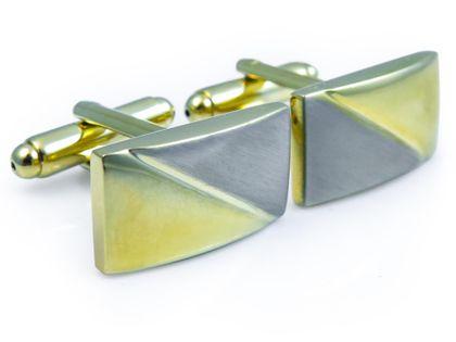 Prostokątne srebrno-złote spinki do mankietów N96