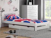 Łóżko sosnowe drewniane LIDIA 90x200 Białe stelaż