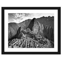 Obraz w ramie czarnej, Widok na Machu Picchu 70x50