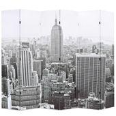 Składany parawan, 228x180 cm, Nowy Jork za dnia, czarno-biały